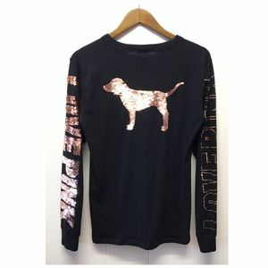 PINK VS   Bling Sequin Dog Love Pink Long Sleeve